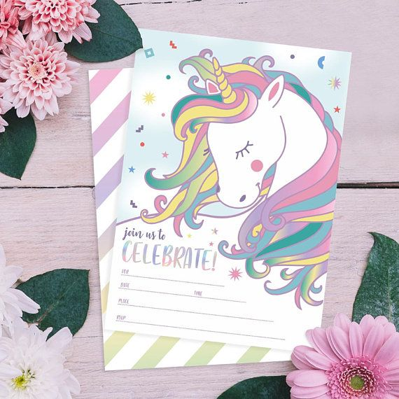 25 Magical Unicorn Birthday Invites With Envelopes Double Sided