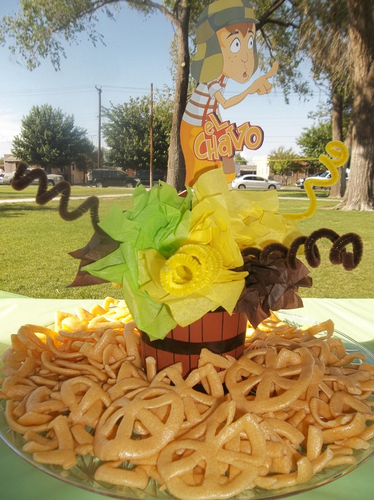 For My Sons 5th Birthday Party Del Chavo Del Ocho... The Centerpieces My Sister @Elizabeth Teran and Andrea Did with some Chicharrones y Salsa Valentina
