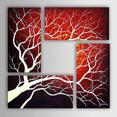 Hand-painted Abstract Oil Painting with Stretched Frame - Set of 4 - ILS ₪ 586.43