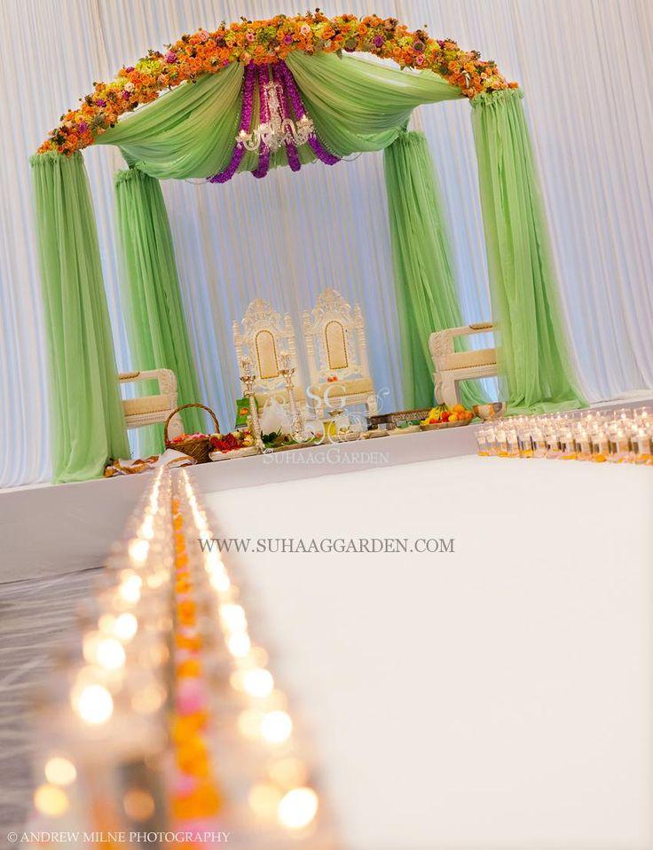 Suhaag Garden, Jodha Akbar theme mandap, mint green chiffon drapes, indian wedding decor