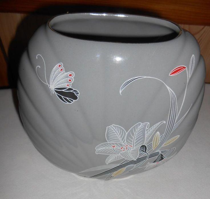 "Vase Ceramic pottery Asian Lily Flowers Butterfly Gray Fine China Japan 7""x7.5"""