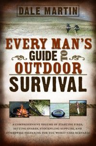 Every Man's Guide to Outdoor Survival by author Dale Martin. Whether you're already an outdoor enthusiast or just deciding to go outside after years as a couch potato, survival expert Dale Martin offers clear, easy-to-follow, and practical tips on how to start a fire, stockpile supplies, improvise hunting tools, how to prepare for the stress of potential life-or-death situations, and more!
