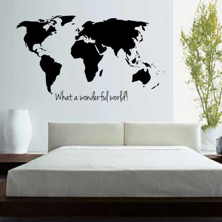 DCTOP What A Wonderful World Map Wall Stickers Bedroom Home Decor Removable Vinyl Wall Decals Large Size Wall Decoration #Affiliate