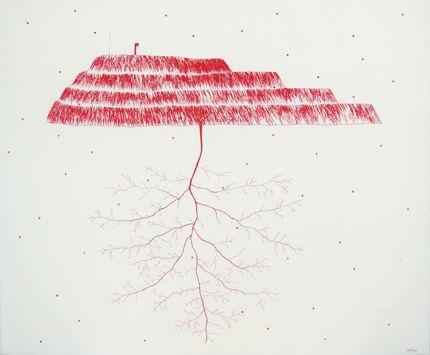 Viktoria Andersson, Moder jord, broderi m pärlor, 116x135 cm, 2008