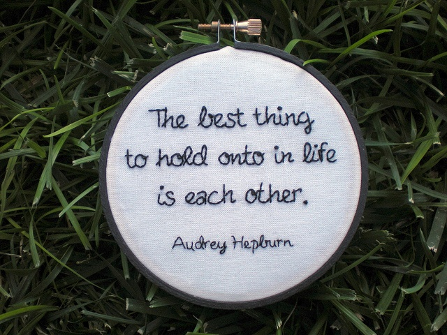 "Hepburn Quote Hoop    A little gift to perk up an engaged couple stressed about wedding plans.  4"" hoop. Main quote is two strands, name is one, backstitch."