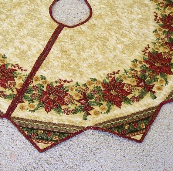 Gold+Christmas+Tree+Skirt | Large Christmas Tree Skirt Quilt, Poinsettias, Soft Gold, Burgundy and ...