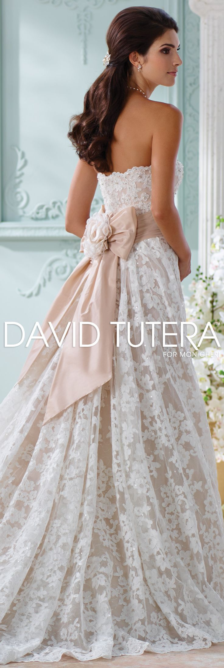 The David Tutera for Mon Cheri Spring 2016 Wedding Gown Collection - Style No. 116219 Yalene #laceweddingdresses Jewelry by @davidtuteraembellish Hope Earrings and Necklace www.davidtuteraembellish.com