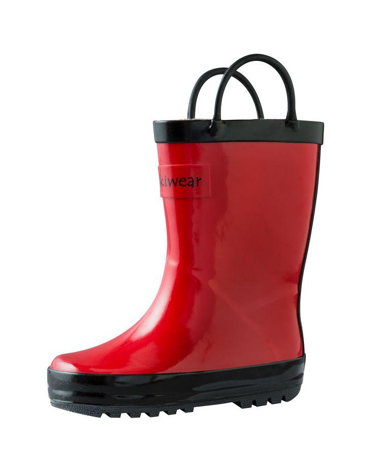 Children's Rubber Rain Boots, Fiery Red | Oakiwear - Rain Gear, Kids rain suits, kids waders, kids rain gear, and kids rain coats