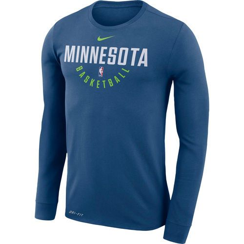 e0781742533 Men's Minnesota Timberwolves Nike Blue Practice Long Sleeve Performance T- Shirt