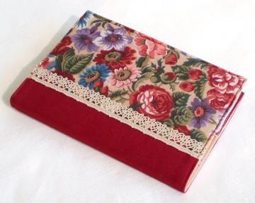 Handmade Fabric Journal Cover - October Roses - A6 Notebook Diary Cover - Burgundy Red, Maroon, Pink, Purple Flowers With Lace by patchworkmill for $18.00