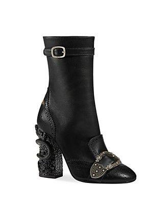 596d023ce73 Gucci Women s Queercore Leather   Crystal Snake Block Heel Booties ...