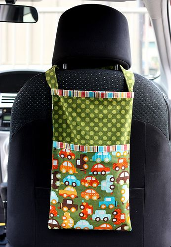 Trash or Toy Sack for Car - This would be great for the middle row kids so their travel activities are more easily reachable.
