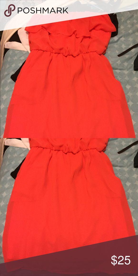 Orange mini strapless dress Orange mini dress strapless Dresses Strapless