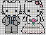 Hello Kitty Bride and Groom Hama Perler Bead Pattern or Cross Stitch Chart