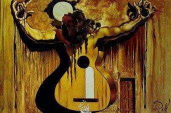 Dali - backdrop at Cafe De Chinitas, inkwells, guitar and woman.