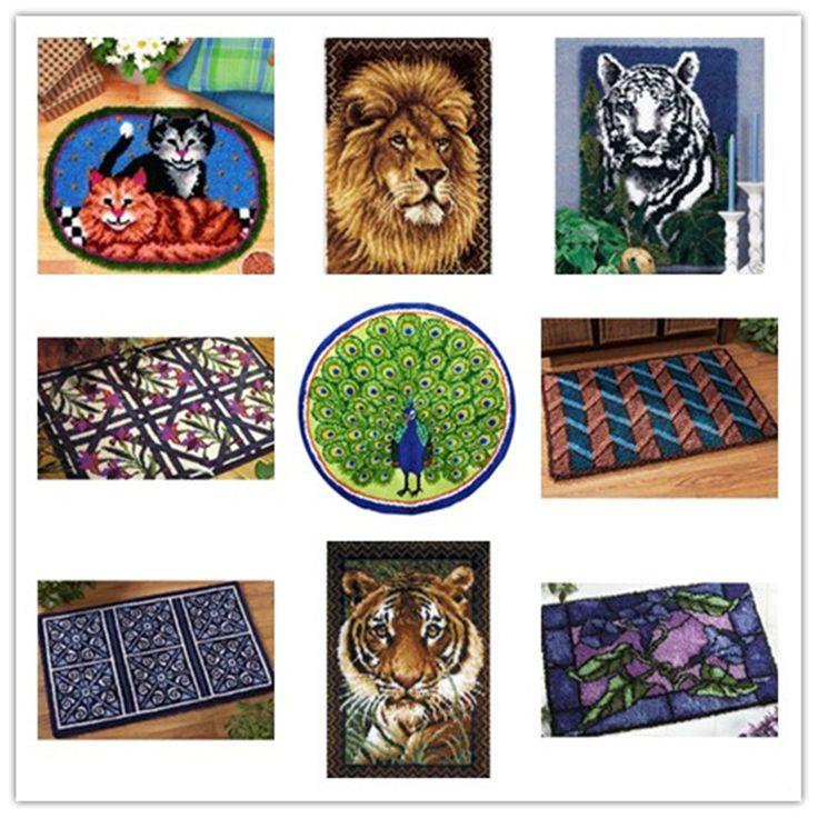 Latch Hook Kit Rug Cushion Pillow Mat DIY Craft Carpet Tapestry Cross Stitch Needlework Crocheting Rug Embroidery