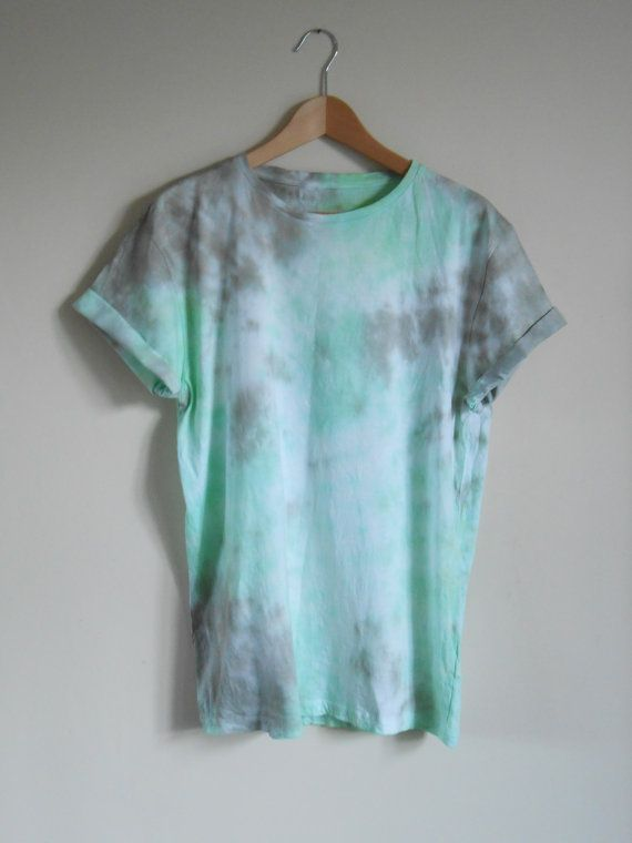 Marble Tie Dye Unisex T Shirt Green Grey by TieDyedTees on Etsy, £9.99                                                                                                                                                      More