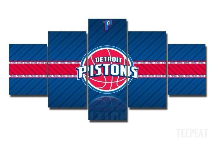 2017 Detroit Pistons Banner - 5 Piece Canvas Painting