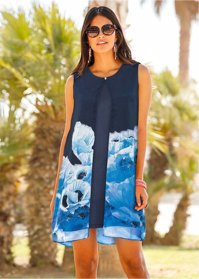 Sukienka z szyfonową narzutką w kwiaty • 149.99 zł • bonprix