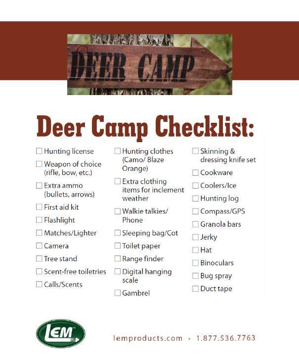 LEM Deer Camp Checklist: