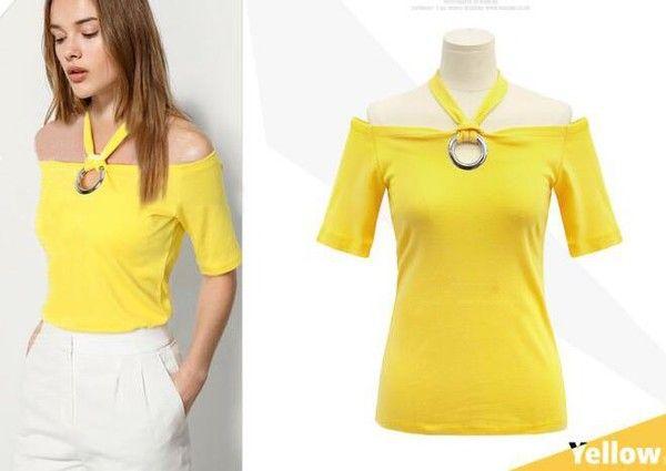 Damen Neckholder Sommer Shirt Gelb