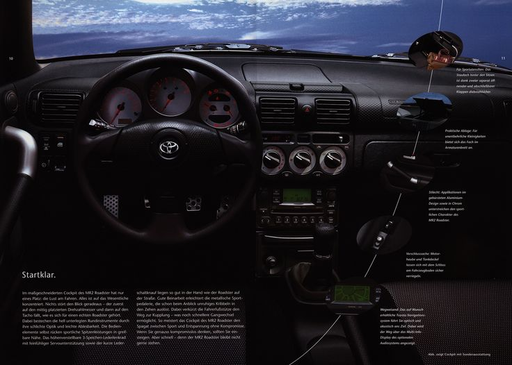 https://flic.kr/p/GxDEC2 | Toyota MR2 Roadster interior; 2001_3 | auto car brochure | by worldtravellib World Travel library