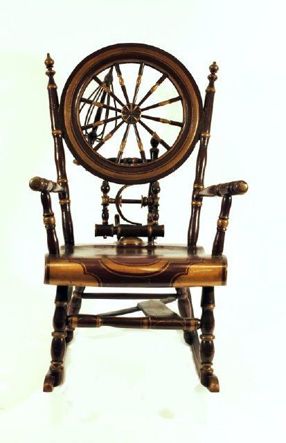 Rocking chair made with all of the parts of a treadle spinning wheel. MHS  Museum - 832 Best Furniture Chairs Antique,New Images On Pinterest