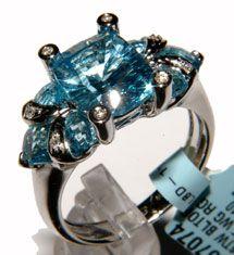 Bellarri 18k White Gold Blue Topaz & Diamond Ring