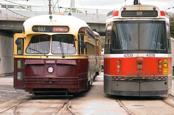 TTC at 90. ... Old cars(left) were replaced by the 'new' cars(right) which now in 2014 have been replaced themselves.