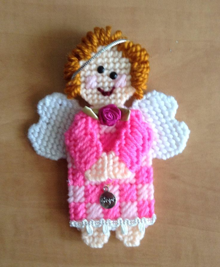 Hope Angel Plastic Canvas Angel Ornament Pink Angel Ginger Hair Angel of Hope. by CraftilySewn on Etsy https://www.etsy.com/ca/listing/524965464/hope-angel-plastic-canvas-angel-ornament