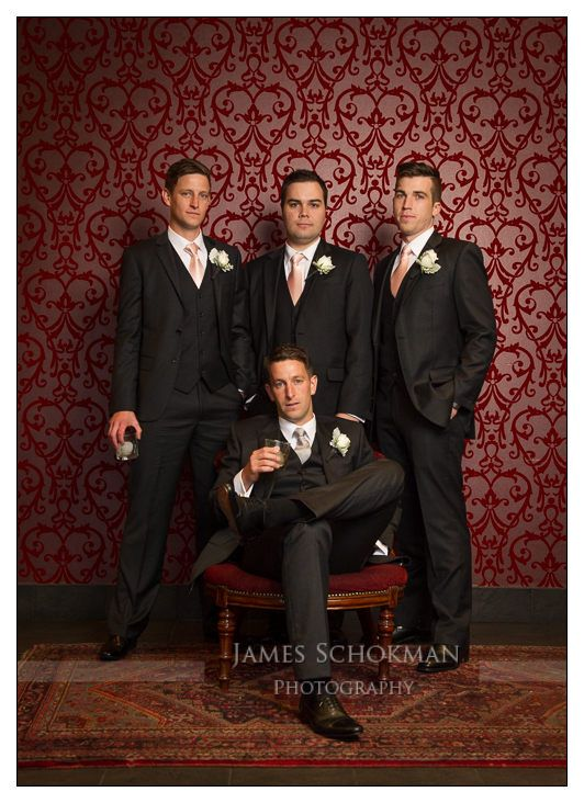 The groom and his men. Perth Wedding photo location: Defectors Bar, Mt Lawley, Perth WA.