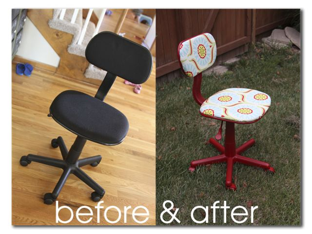 Want to do this for the kids classroom using thrift store office chairs and letting them pick the fabric and paint color. :)