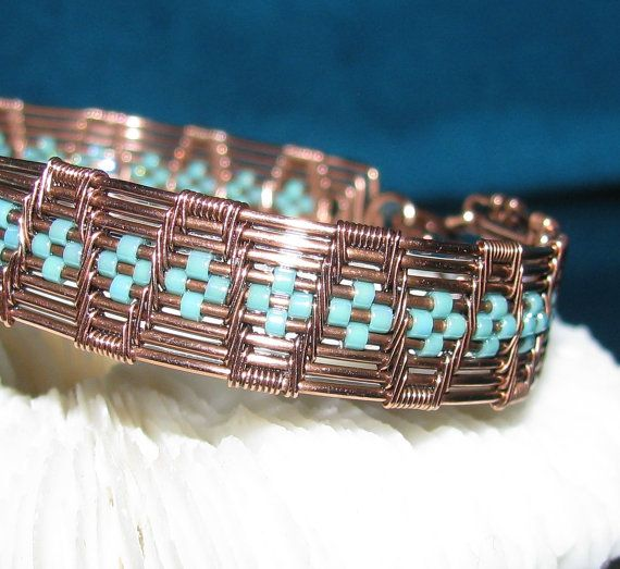 Aztec Turquoise Copper Wire Woven by RoSanCustomJewelry on Etsy