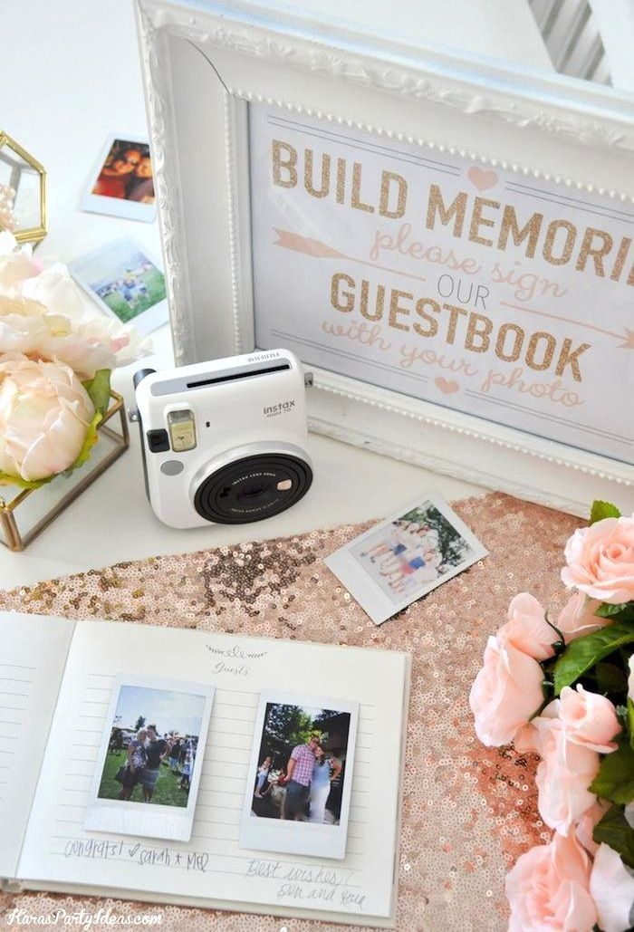 photo wedding or bridal shower guest book with fuji instax instant film camera karau0027s party