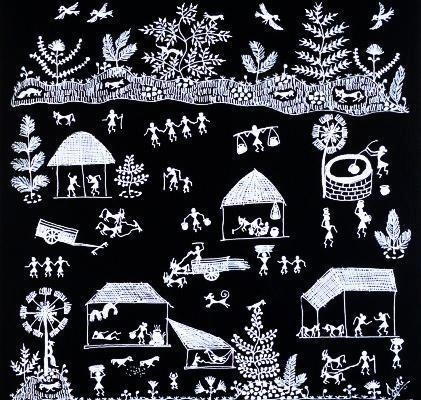 Warli Art. The Warlis or Varlis are an indigenous tribe or Adivasis, living in Mountainous as well as coastal areas of Maharashtra - Gujarat border and surrounding areas.