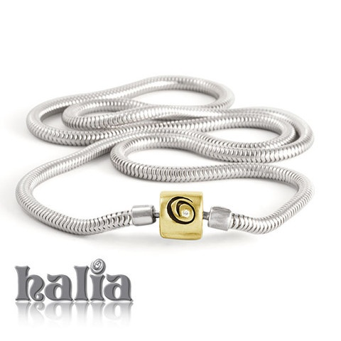 """Diamond Necklace (sterling silver with silver clasp, or sterling silver with `14k gold clasp, 18 or 20 inches): The Halia Diamond (universal) necklace features a diamond in the ingeniously-designed clasp provides a little sparkle, to brighten your day. The Halia Diamond (universal) necklace also accepts charms from most competing charm systems. The Halia Diamond (universal) necklace is available in sterling silver or sterling silver with 14K gold clasp in 18"""" and 20"""" lengths.     $120.00"""