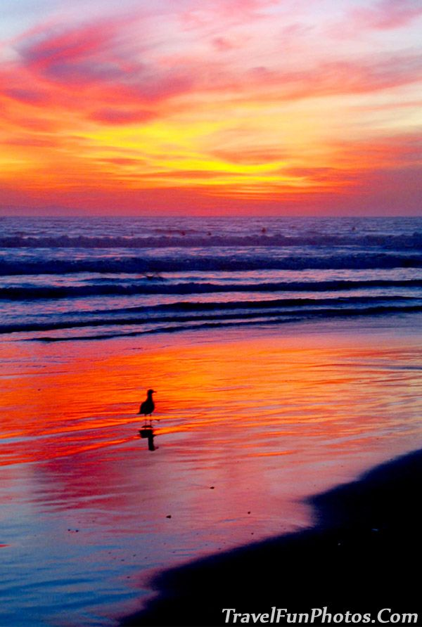 Fiery Sunset on Huntington Beach, California - USA
