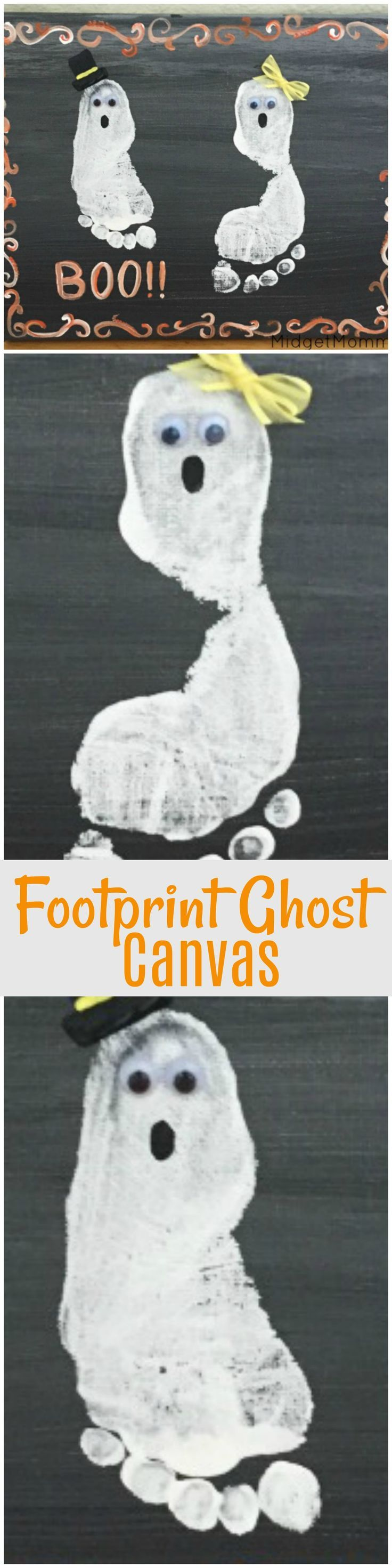 Kids foorprint Halloween Art. Using your kids super cute feet to make this super cute decoration for Halloween! Little footprint ghost canvas made with the kiddos feet. Fun DIY Halloween craft for kids!
