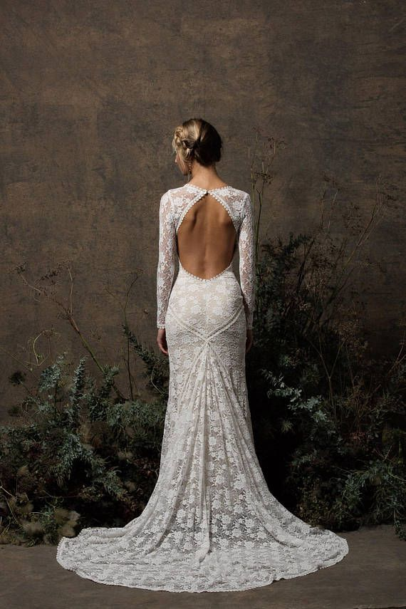 Valentina Bohemian Wedding Dress | Long Sleeves Lace Gown w/ Open Back | Simple Wedding Dress | Custom Made to Measure | Size 0-18