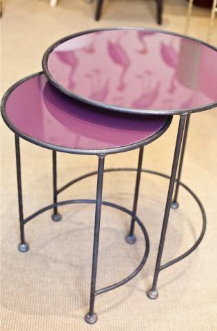 Elegant Mesa Nido Circular Color Berenjena Hierro | Iron Trundle Table Aubergine  Color Circle. Detana,