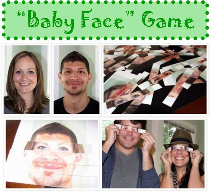 """""""Baby Face"""" Baby Shower Activity = Print out several 8""""x10"""" photos on cardstock paper of the Mom & Dad looking straight at the camera with their heads being the same size and cut strips for each of their foreheads, eyes, noses, mouths, and chins on. Put the photo strips on a table for guests to """"construct"""" a possible baby face."""