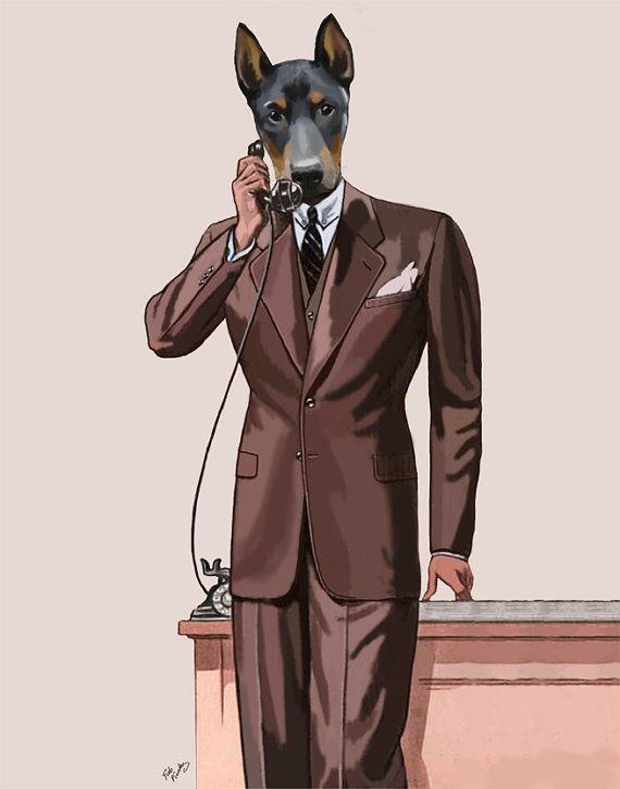 8x10 inch, Doberman Dog on the phone, doberman pinscher, doberman print, dog print picture illustration wall decor wall hanging art