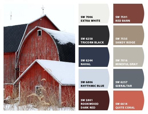 """""""Red Barn Inspiration"""" Color Palette for Exerior Home Paint Color, Stone, and landscaping. Chip It! by Sherwin-Williams – ChipCard by Christy C."""
