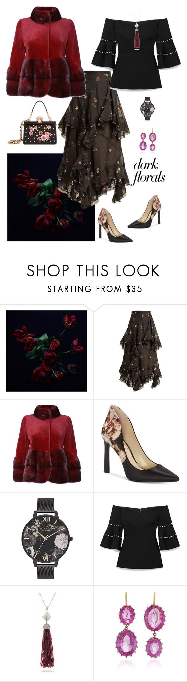 """""""A Flower in the Night🥀"""" by parnett ❤ liked on Polyvore featuring Erdem, Jessica Simpson, Olivia Burton, Lela Rose, Renee Lewis and Dolce&Gabbana"""