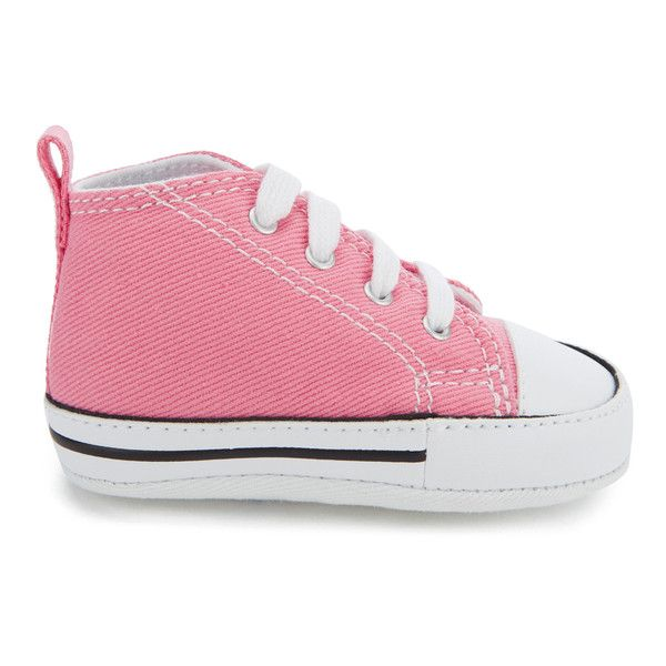 Converse Babies' Chuck Taylor All Star Hi-Top Trainers ($27) ❤ liked on Polyvore featuring shoes, sneakers, pink, hi tops, pink high top sneakers, pink high tops, converse trainers and pink flat shoes