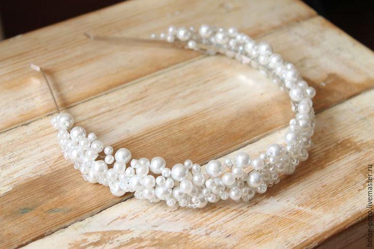 Купить Ободок свадебный - белый, свадебный ободок, ободок для невесты, диадем, жемчуг, морской стиль