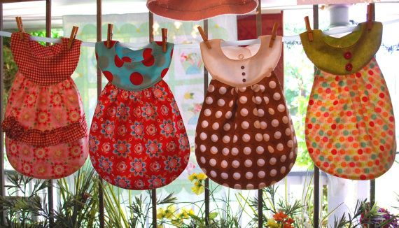 Where were these cute bib patterns when Claire was little.  So cute with vintage linens.