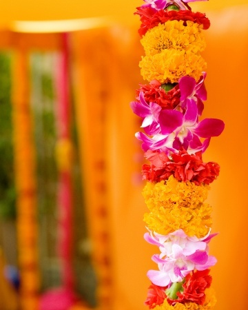 Orchids and marigolds - gorgeous combination for wedding mandap flowers #indian