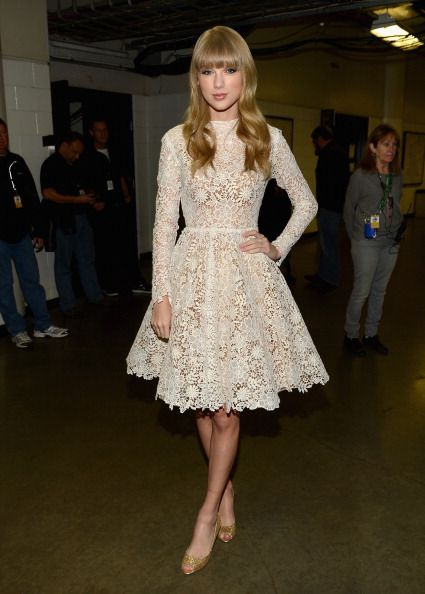 Taylor Swift's white longsleeve lace/crochet dress at the Grammy Nomination Concert