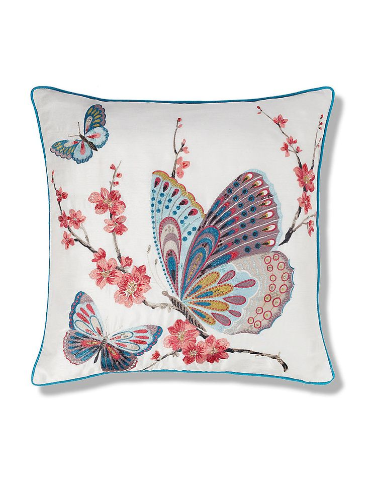 Butterfly Embroidered Cushion